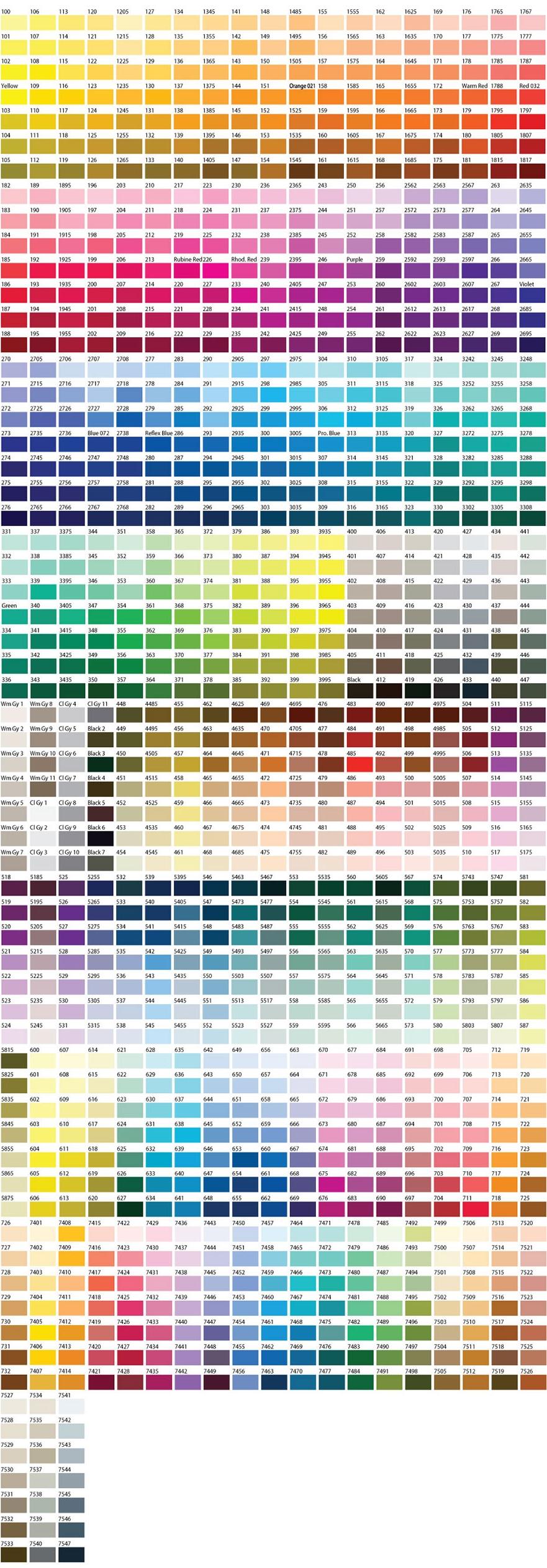 Nuestra tabla de colores para poder elegir y fabricar sus pins.